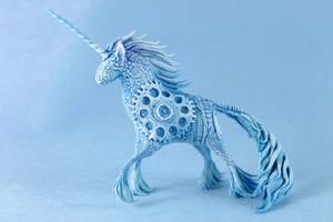Blue steampunk unicorn by hontor