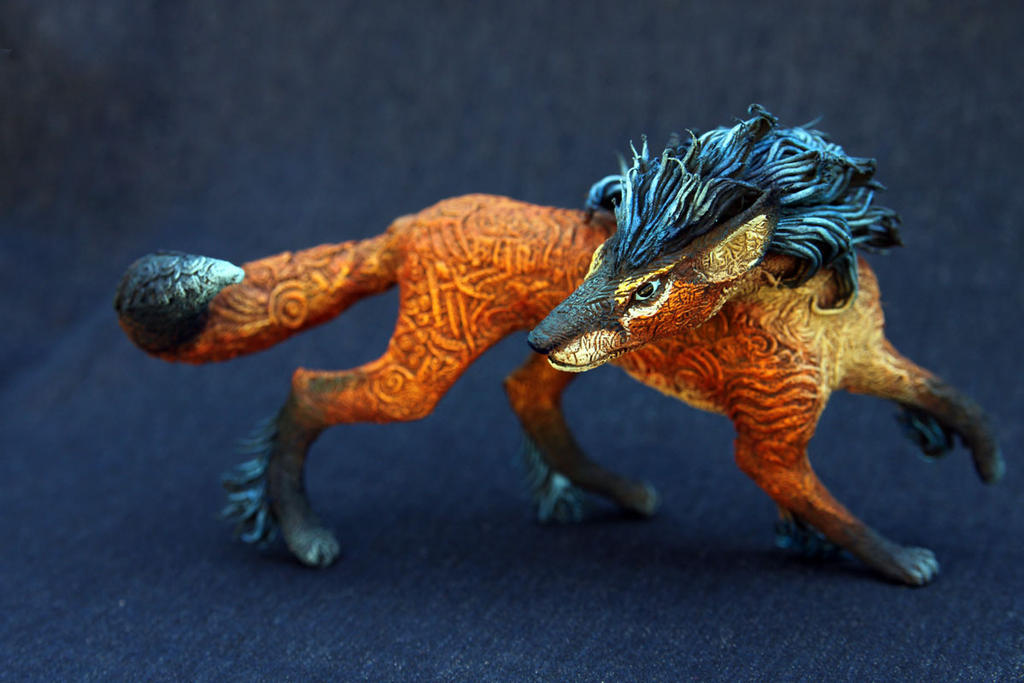 Fantasy Fire Creatures Night And Fire Fox Creature by