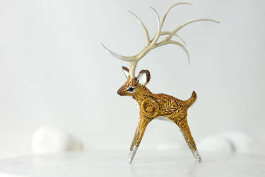 Deer spirit with big horns by hontor