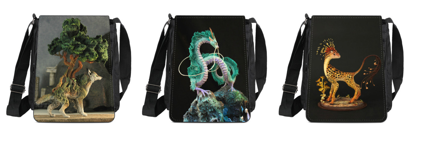 Bags with sculptures by hontor