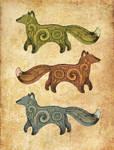 Three foxes design