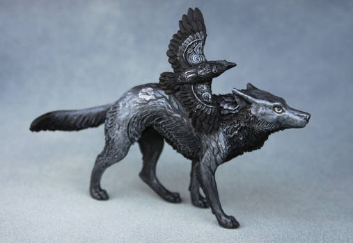 Gothic wolf with raven