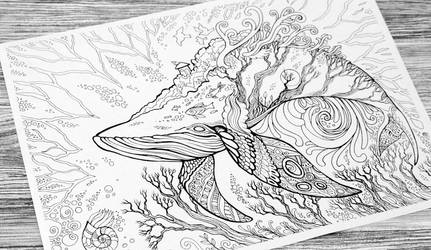 Great Whale colouring page by hontor