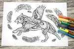 Wolf and raven colouring page