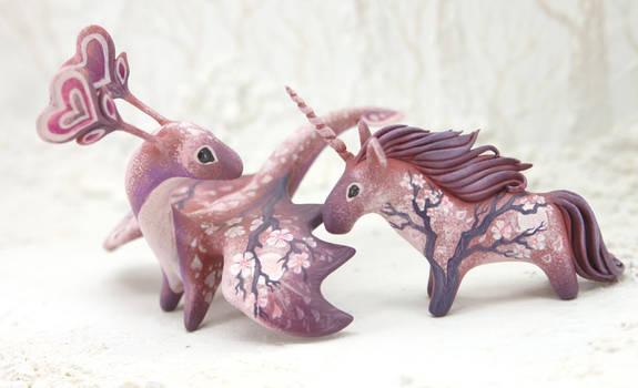 Sakura dragon and unicorn