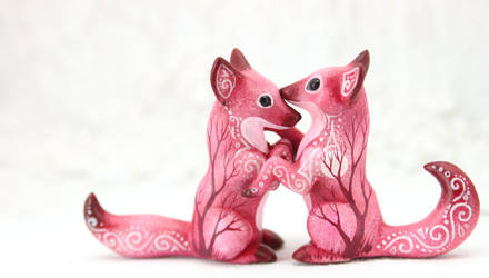 Two foxes by hontor