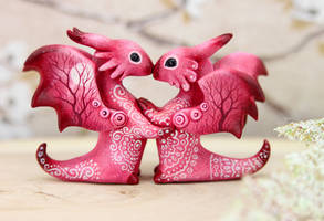 Two pink dragons