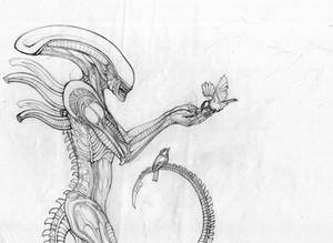 Xenomorph and winter birds (WIP) by hontor