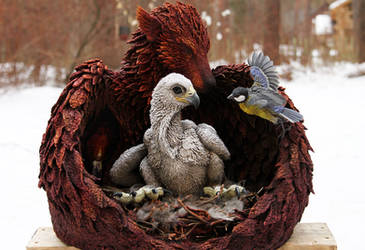 Eagle and Titmouse sculpt - Birth in the new nest by hontor
