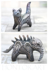 Giger ihspired cat and elephant