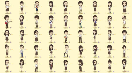 all of my college friends chibi
