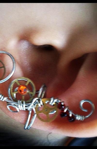 Red Steampunk Ear Cuff by sodacrush