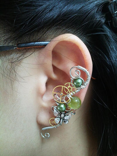 Green Steampunk Wired Ear Cuff by sodacrush