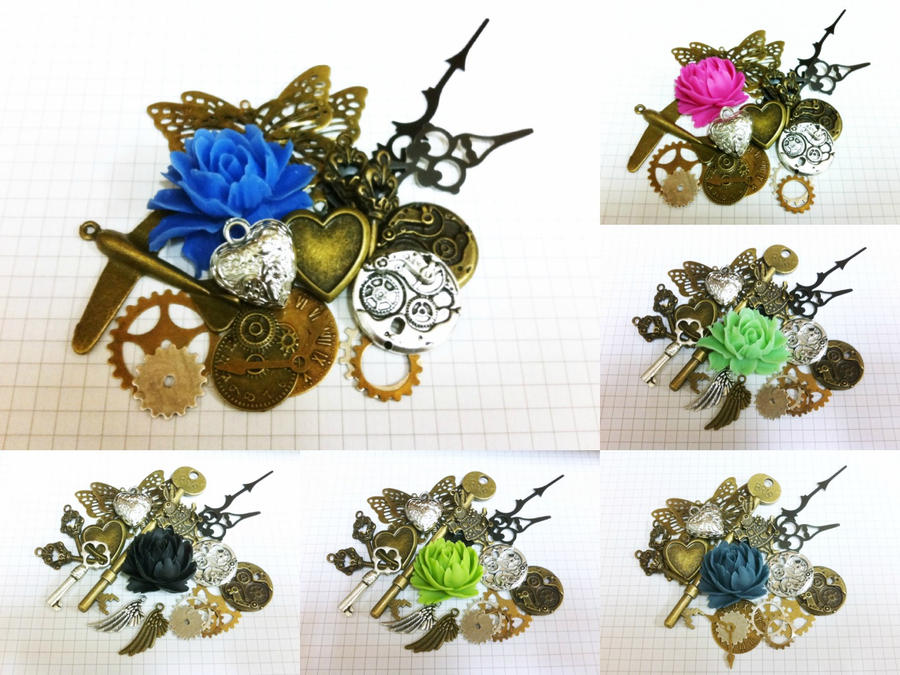 Steampunk Charm Packs by sodacrush
