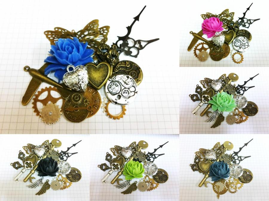 Steampunk Charm Packs by sodacrush