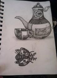 Metal Tea set and Ladybug by IFreakingLoveWolves