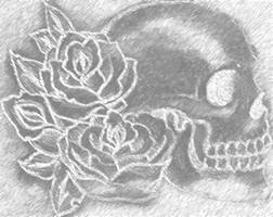 Charcoal Skull and Roses