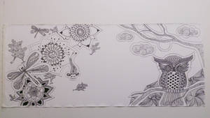 Evening at the lake - Zentangle - WIP by FeliDae84
