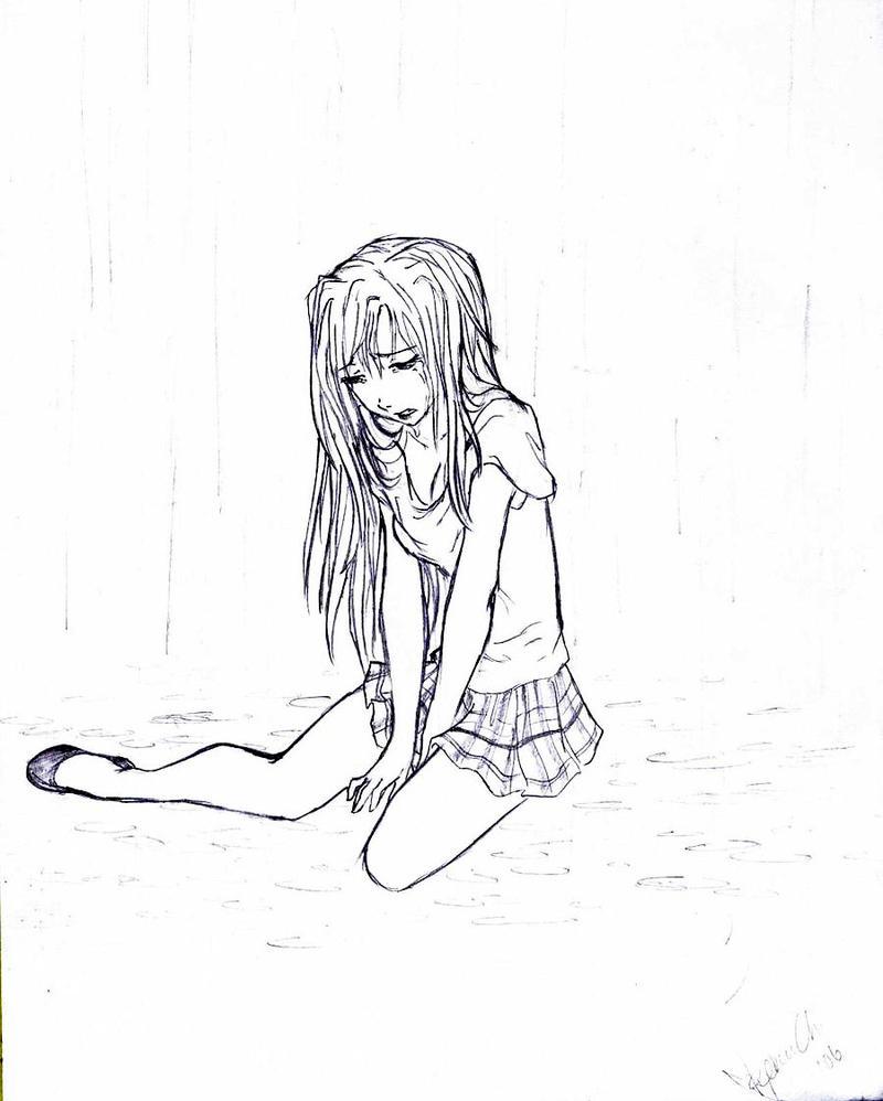Crying Tears Of Rain By Xosensation Anime Girl Drawing Drawingsomeone
