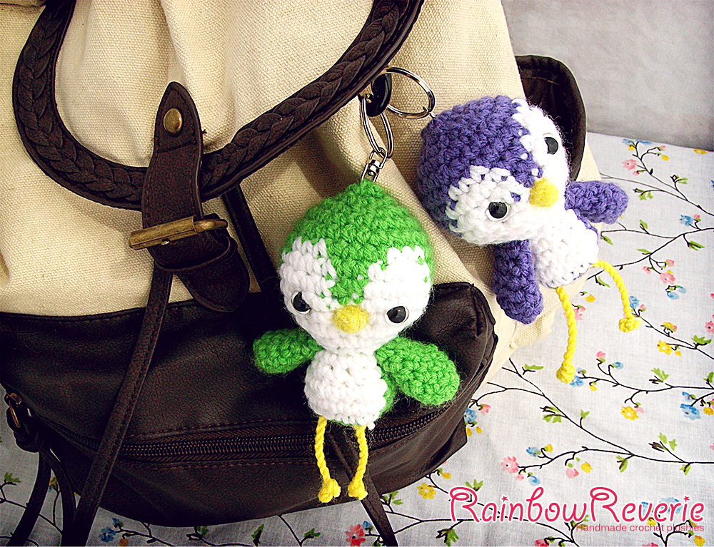 Amigurumi Crochet Keychain : Cute baby bird amigurumi crochet keychain charms by rainbowreverie