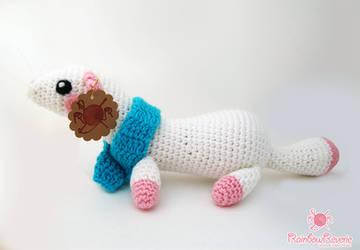 Snow Ferret Amigurumi by RainbowReverie