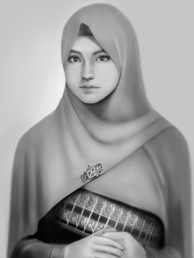 Gambar  6 Gambar  Sketsa  Wanita  Berhijab  Tercantik Dp Bbm