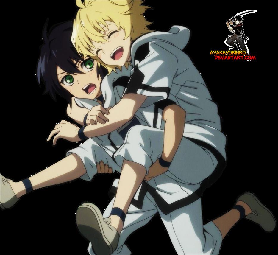 Owari no Seraph:Yuichiro and Mikaela render by AyakaYukihiro