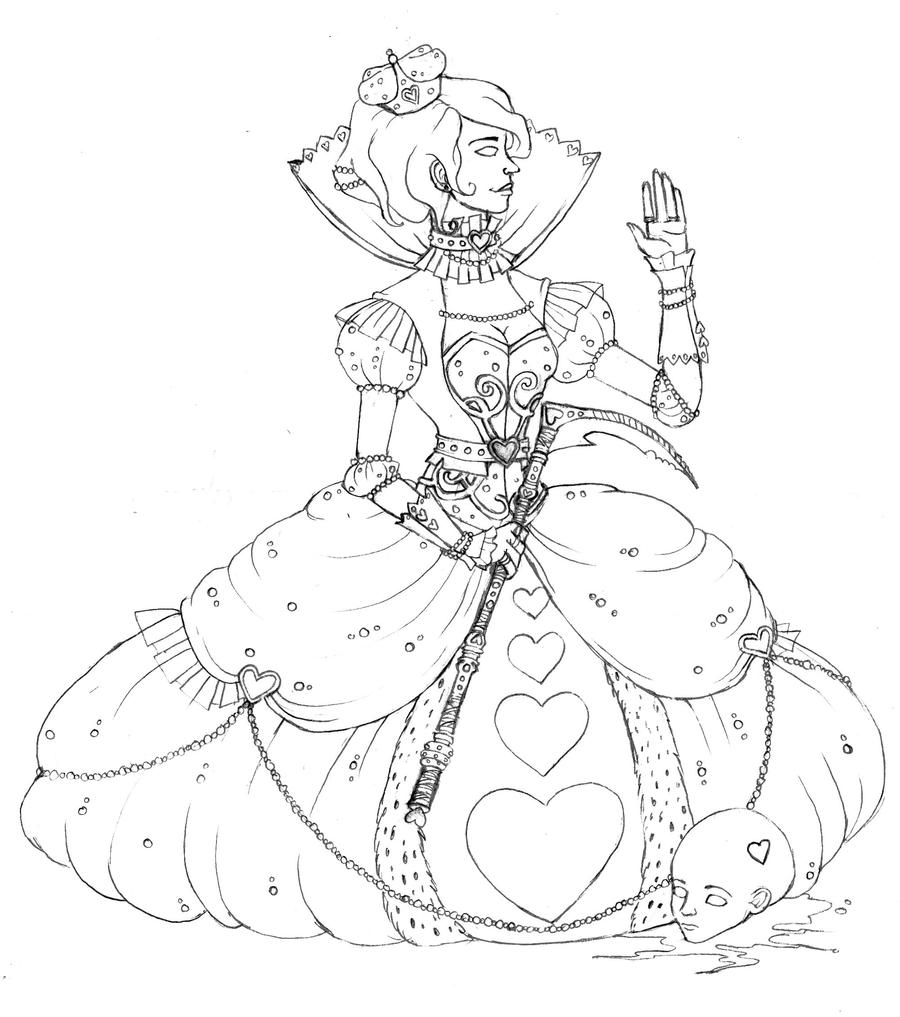 Line Drawing Queen : Queen of hearts lineart by narcolangela on deviantart
