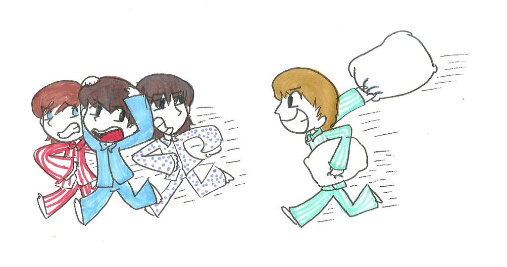 Traditional Pillow Fight : Pillow Fight by iamtheableh on DeviantArt
