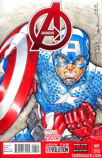 Captain America, Avengers sketch cover by ToddNauck