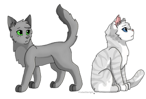 Dovewing and Ivypool by FrostedStarlight