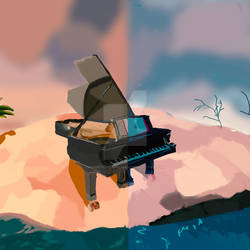 COMMISSION: Surreal Piano Album Cover by maddythehooligan