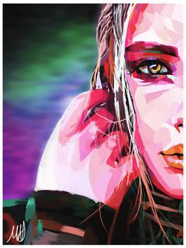 Colorful Galaxy Woman Portrait