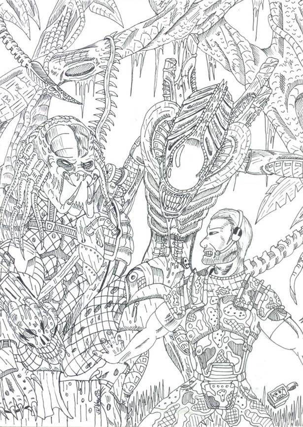 predator alien coloring pages - photo#25