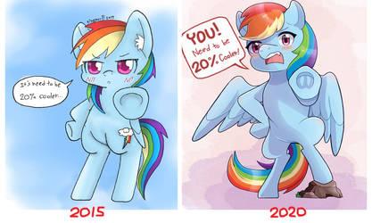 Rainbow Dash redraw 5 years comparison