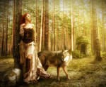 Woman and Wolf in The Forest