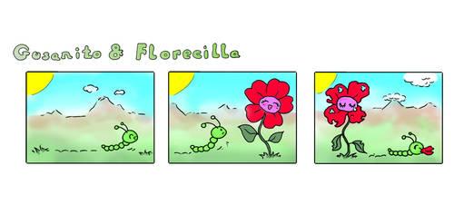 Gusanito and Florecilla by Munia