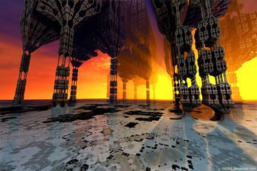 Sunset temple by bib993