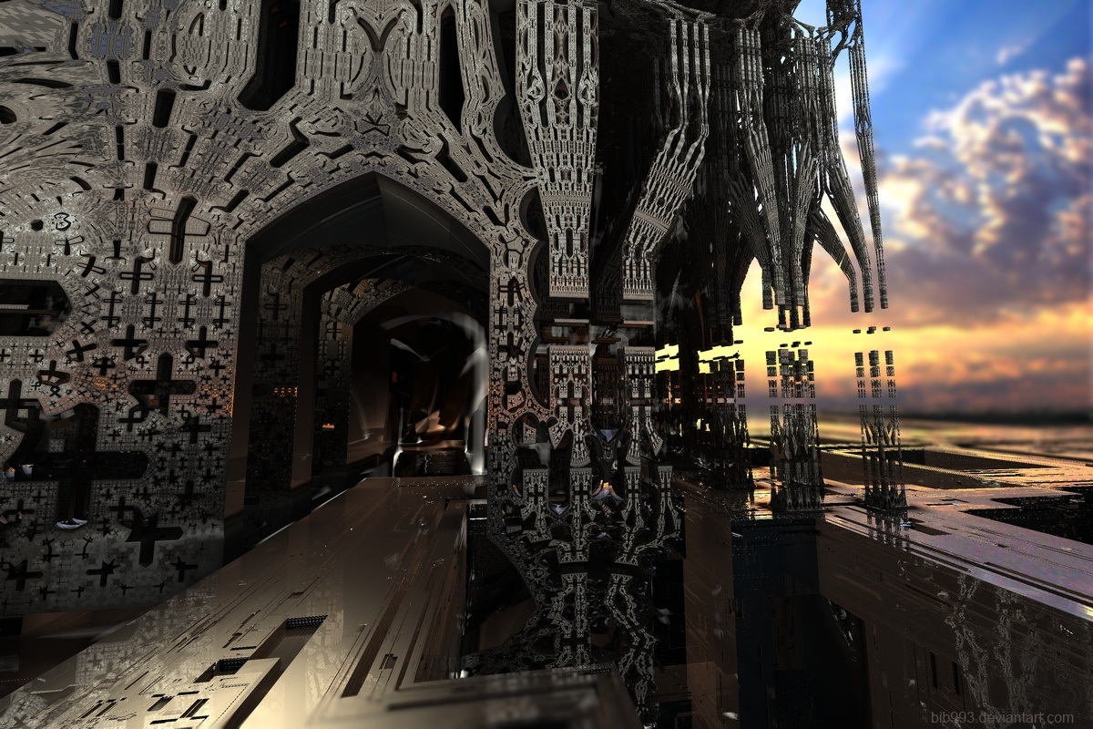 Dark temple at sunrise by bib993