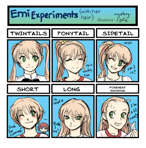 Emi Experiments (With Her Hair) by mysterycycle
