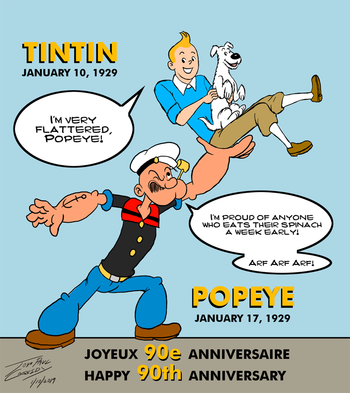 Happy 90th Anniversary, Tintin and Popeye! by ryuuseipro