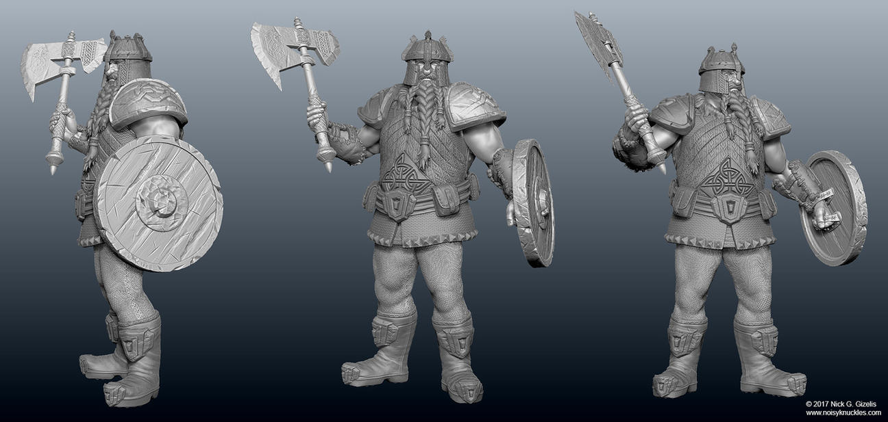 Dwarf warrior miniature by AUMAKUA70