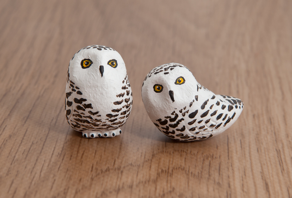 Snowy Owl Totems Handmade In Polymer Clay By Lifedancecreations On