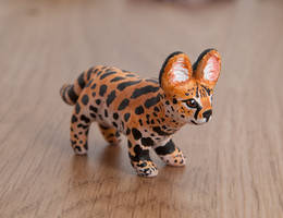 Serval totem, polymer clay by lifedancecreations