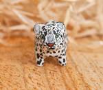 Snow leopard polymer clay totem