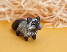 Silver fox polymer clay figurine by lifedancecreations