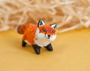 Red fox totem, polymer clay by lifedancecreations