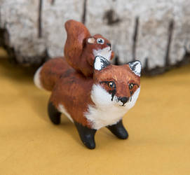 Red fox and squirrel spirit totem by lifedancecreations