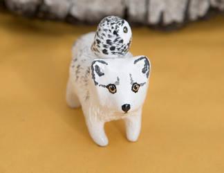 Polar fox and snowy owl spirit by lifedancecreations