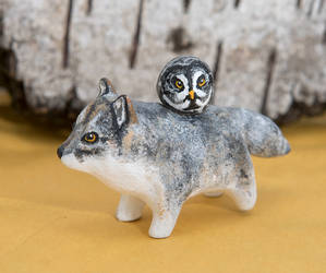 Wolf and great grey owl polymer clay totem by lifedancecreations